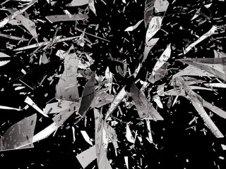 Sharp pieces of smashed glass isolated