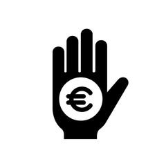 euro on hand icon