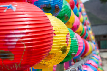 Colorful lantern in buddhist temple Songgwangsa, South Korea. 12 april 2017 close to Budda birthday time