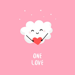 Cute cloud with big red heart. Flat style. Vector cartoon card.