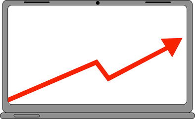 Computer with Business Sales Graph Icon