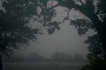 A boat at anchor in the Intercostal Waterway is pictured as Hurricane Irma arrives in Hollywood, Florida