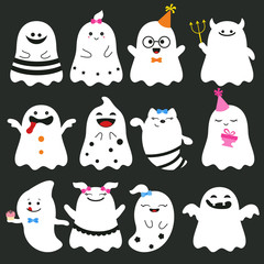 Cute ghost character illustration.