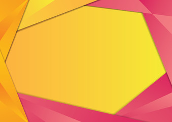 Yellow and Pink gradient triangle frame border. EPS10 vector template