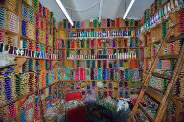 Colorful shop in chefchauen in morocco