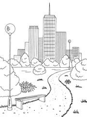 Park graphic black white bench lamp vertical landscape sketch illustration vector