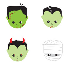 A collection of vector illustrations of various Halloween characters