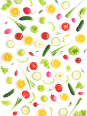 Fototapete - Wallpaper abstract composition of fruits and vegetables. Food pattern vegetables. Healthy food concept. Vegetables, top view.
