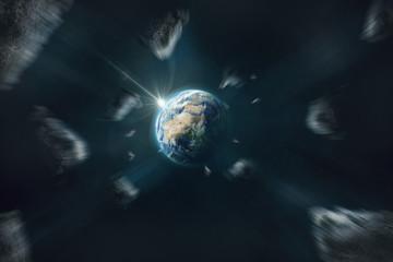 Asteroiden und Kometen fliegen an der Erde vorbei