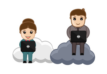 Cartoon Man and Woman Sitting on Clouds and Working on Laptop