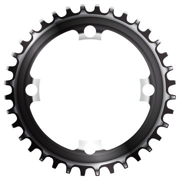 Bicycle chainring 36 tooth isolated. Narrow wide Vector.