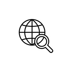 internet gobal searching line icon black