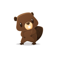 Cute cartoon beaver vector illustration