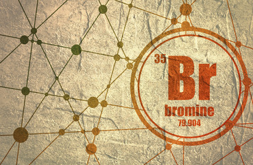 bromine chemical element sign with atomic number and atomic weight chemical element of periodic