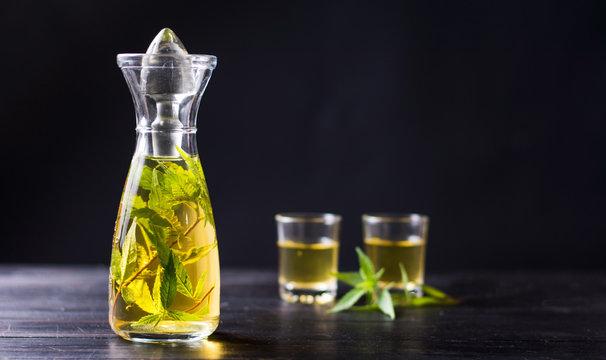 Marijuana alcohol drink in a bottle