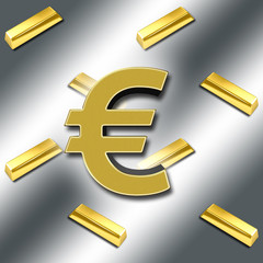 3D, Bright shiny golden European currency symbol, against a silver background with gold bars.