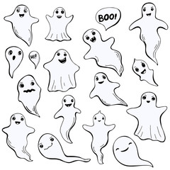 Set of doodle ghosts, isolated on white