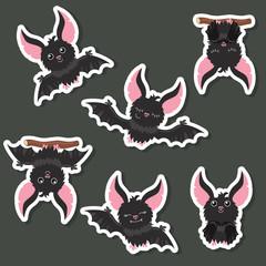 Set of cartoon bats