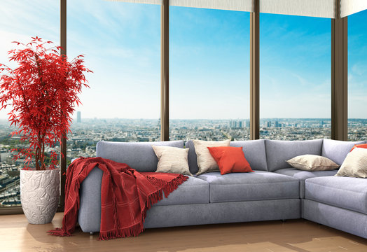 Уютный номер с видом на город. Подушки и покрывало расположены на диване. 3d иллюстрации