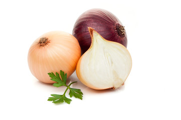 red sliced onion  with parsley greenery isolated on white background