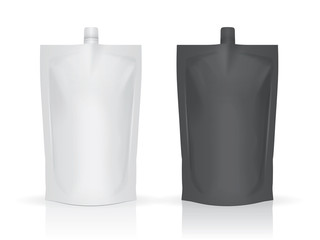 Two food or drink pouch bags on white background