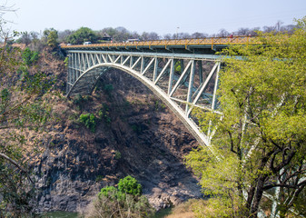 Bridge spanning the Zambezi River in Victoria Falls.  it is the border between zimbabwe and zambia