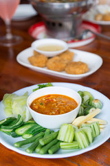Chili Shrimp Thai style appetizers, delicious Thai food served o