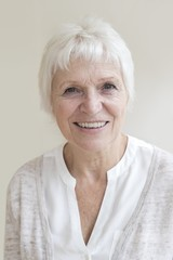 Senior woman smiling towards camera