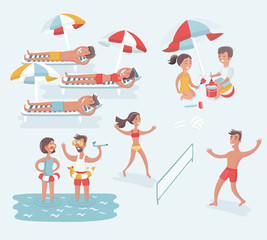 Aerial view of summer beach in flat design style. Slippers and towel, starfish and summertime, relaxation summer tourism, vector illustration