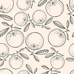 Hand drawn seamless pattern background with oranges