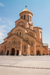 Wall Mural - TBILISI, GEORGIA - August 26, 2017: The Holy Trinity Cathedral of Tbilisi .Sameba. Largest cathedral in Caucasus region