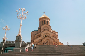 Fotomurales - TBILISI, GEORGIA - August 26, 2017: The Holy Trinity Cathedral of Tbilisi .Sameba. Largest cathedral in Caucasus region