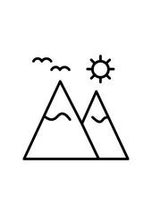 Mountain icon, sun icon, Vector