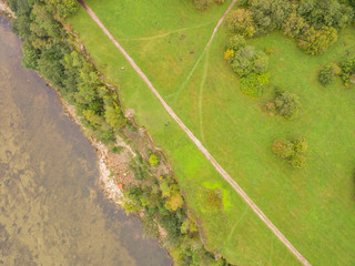 aerial view, baltic sea with green forest