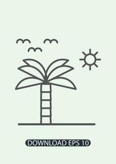 Palm tree icon, island icon, sun icon, Vector