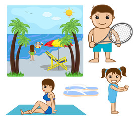 Cartoon Beach Graphics - cartoon clip-art vector character
