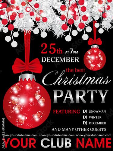 Christmas Party Invitation Template.Christmas Party Invitation Template Black Background With