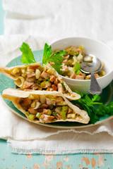 pita with mustard chicken salad.selective focus