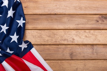 American flag wooden background.The Flag Of The United States Of America. Template.The view from the top.