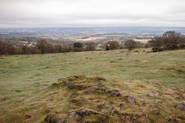 cloudy and depressing day with a stunning view from Beacon Hill looking at the surrounding countryside in Leicestershire, England, UK