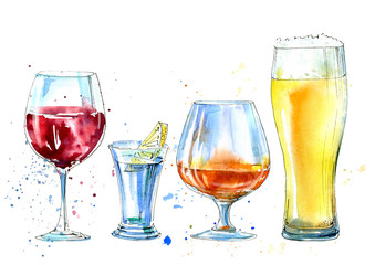 Wine, vodka with lemon, beer and cognac.Picture of a alcoholic drink.Watercolor hand drawn illustration.Isolated sketch.
