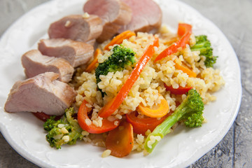 Bulgur with Vegetables and roast beef veal steak
