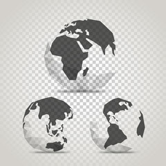 The Earth with abstract World map. Infographic template with the Earth on transparent background
