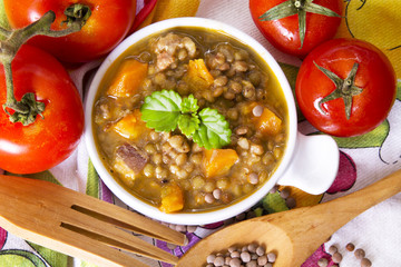 delicious lentil stew with tomato