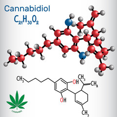 Cannabidiol (CBD) - structural chemical formula and molecule model. Active cannabinoid in cannabis, has antipsychotic effects