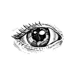 I see your Universe. Hand-drawn eye, sketch. Hand drawn vintage vector. Steampunk style.