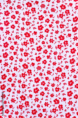 Cute Pattern In Small Flower Small Red Lowers White Background In