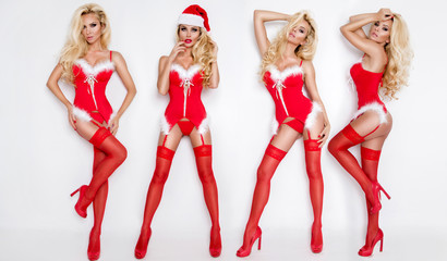Beautiful sexy blonde female model snowflake dressed as Santa Claus erotic red lingerie with white fur and amazing stockings and high heels lovely makeup sensual lips, beauty photo Christmas