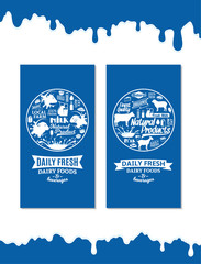 Vector dairy foods and beverages banners