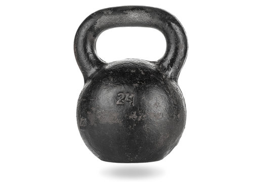 Heavy kettle bell with shadow on white background